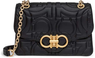 Salvatore Ferragamo Gancino Quilting black leather shoulder bag
