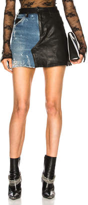 Amiri Leather Denim Flare Skirt