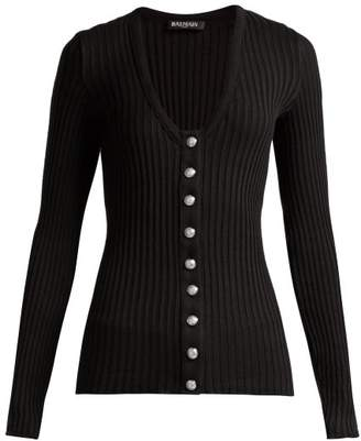 Balmain Ribbed Knit Cotton Cardigan - Womens - Black