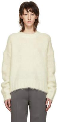 Helmut Lang White Brushed Crewneck Sweater