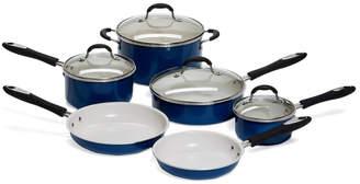 Cuisinart 10Pc Blue & Cream Ceramic Coated Cookware Set