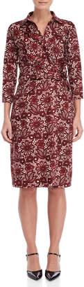 Samantha Sung Red Lace Print Sloan Dress