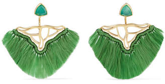 Katerina Makriyianni - Fringed Gold Vermeil, Quartz And Agate Earrings - Green