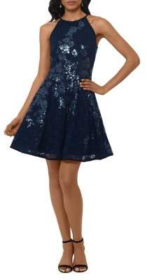 Xscape Evenings Sequined Lace Halter Fit-&-Flare Dress