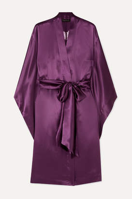 Carine Gilson Chantilly Lace-trimmed Silk-satin Robe - Purple