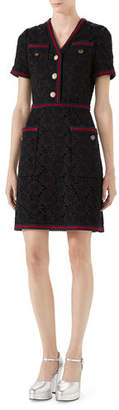 Gucci Floral-Leaf Lace Dress with Web Ribbon