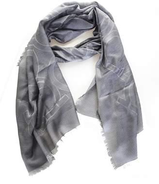 Salvatore Ferragamo Silk Scarf And Gray Cashmere With Hook Logo