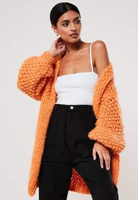 Missguided Premium Orange Chunky Knit Cardigan