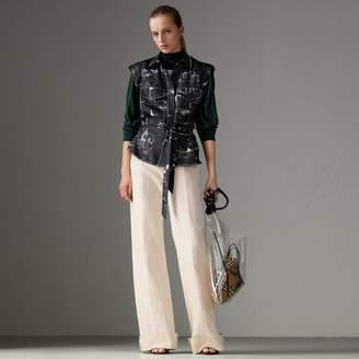 Burberry Landmark Print Sleeveless Silk Shirt