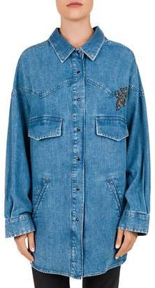 The Kooples DENIM AND LILY PATCH SHIRT