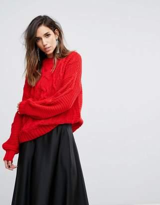 Miss Selfridge Cable Knit Oversized Jumper