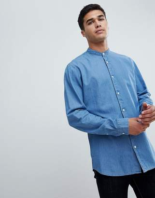 Selected Chambray Shirt With Mandarin Collar In Slim Fit