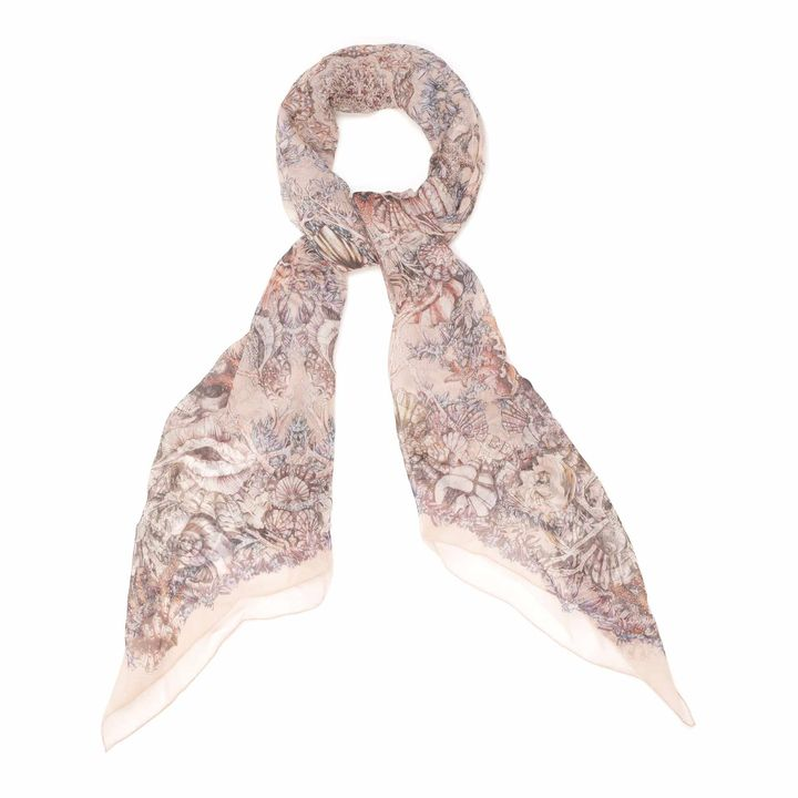 Midnight-Blue/Pink Shell Circle Print Silk Scarf