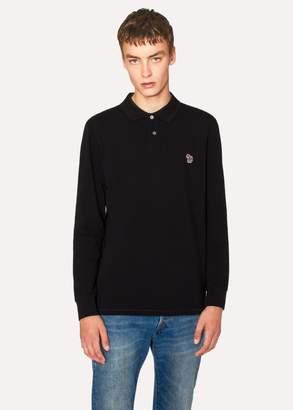 Paul Smith Men's Black Organic-Cotton Zebra Logo Long-Sleeve Polo Shirt