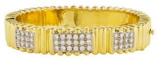 18K Diamond Fluted Hinged Bracelet