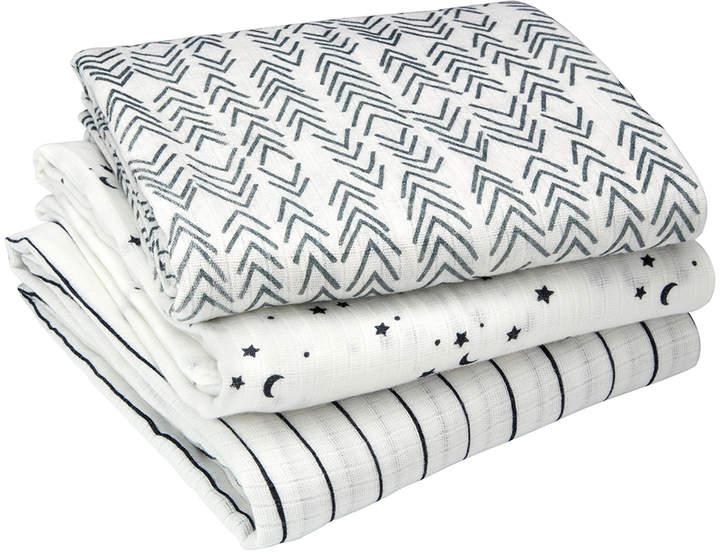 White Star Organic Muslin Cotton Swaddle Blanket - Set of Three