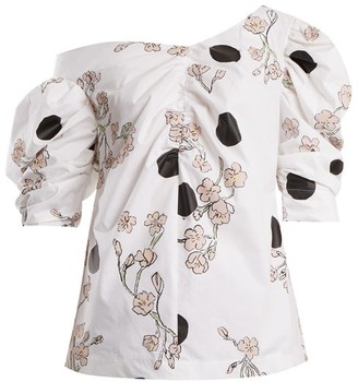 Isa Arfen Floral Print One Shoulder Gathered Cotton Top - Womens - White Multi