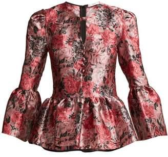 Erdem Demetria Rose Jacquard Blouse - Womens - Pink Multi