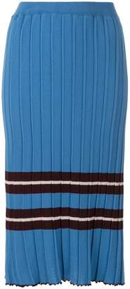 Chiara Bertani striped rib knit midi skirt