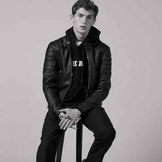 Sandro Leather jacket with quilted trims