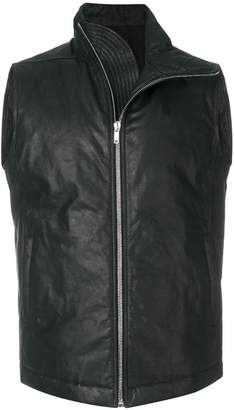 Rick Owens asymmetric sleeveless leather jacket