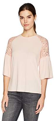 Adrianna Papell Women's Crew Neck lace Detail with Bell Sleeve
