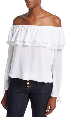 MICHAEL Michael Kors Ruffled Off-the-Shoulder Peasant Blouse $88 thestylecure.com