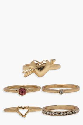 boohoo Simple Heart Ring Pack