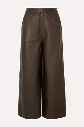 REMAIN Birger Christensen - Manu Cropped Leather Wide-leg Pants - Army green