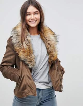 Brave Soul Bellini Jacket With Deep Faux Fur Collar