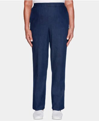 Alfred Dunner Petite Greenwich Hills Denim-Look Pull-On Pants