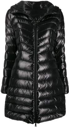 Moncler hooded midi puffer jacket