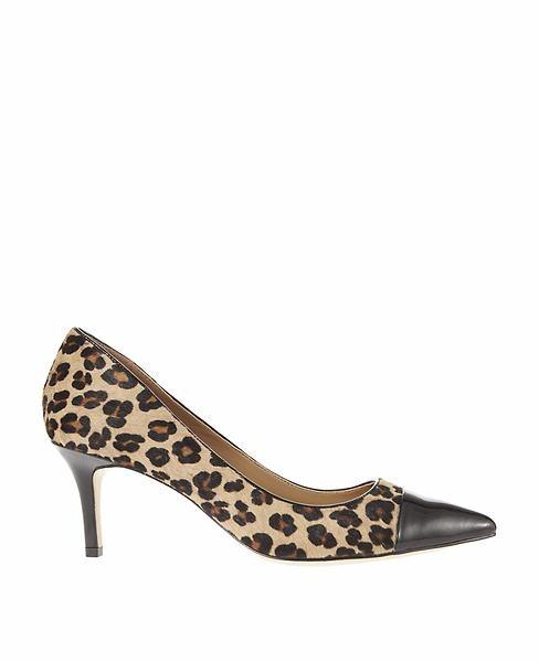 Ann Taylor Eryn Leopard Print Haircalf Cap Toe Kitten Heels