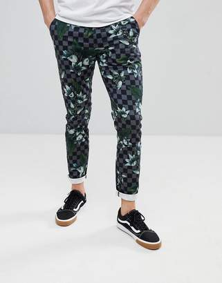 Asos Design Skinny Pants In Check Floral Print