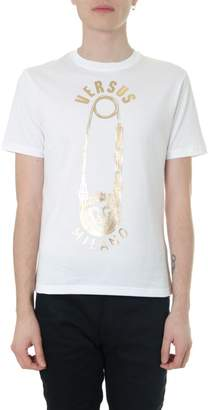 Versace White Cotton T-shirt With Golden Logo
