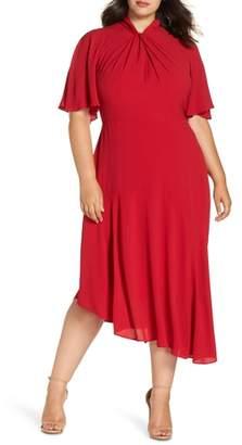 Maggy London Asymmetrical Midi Dress