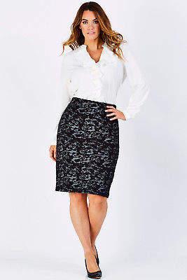 bird by design Womens Knee Length Skirts The Emboss Jacquard Tube Skirt Ink