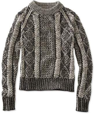 L.L. Bean L.L.Bean Signature Cotton Fisherman Sweater, Crewneck Plaited