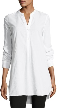Joan Vass Cotton Long-Sleeve Tunic Top, White $45 thestylecure.com