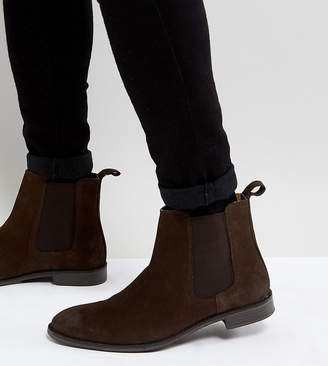 Asos DESIGN Wide Fit Chelsea Boots in Brown Suede