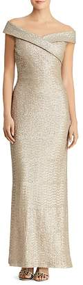 Lauren Ralph Lauren Sequined Off-the-Shoulder Gown