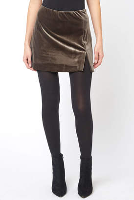 Abbeline Moss Velvet Slit Mini Skirt