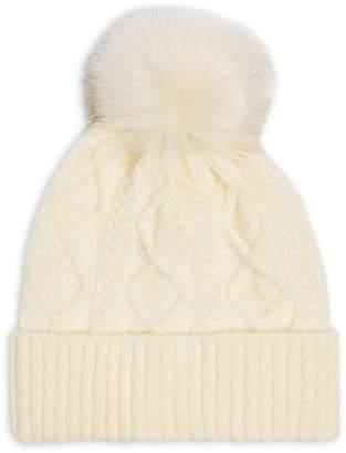 Topshop Cable-Knit Faux Fur Pom-Pom Beanie