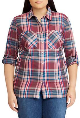 Lauren Ralph Lauren Plus Plaid Twill Cotton Shirt
