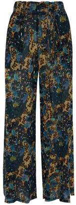 Raquel Allegra Printed Silk-Georgette Wide-Leg Pants
