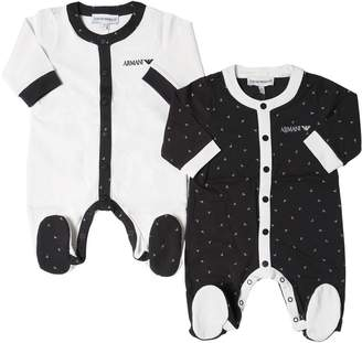 Emporio Armani Set Of 2 Cotton Jersey Rompers