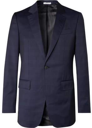 Navy Kipling Slim-Fit Checked Wool Suit Jacket