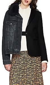 Women's Denim & Wool Felt Tailored Jacket - Black
