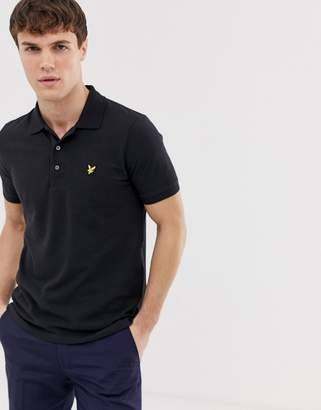 Lyle & Scott logo pique polo in black