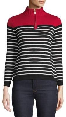 Karen Scott Petite Mockneck Striped Cotton Sweater